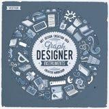 Комплект doodle шаржа дизайна возражает, символы и детали