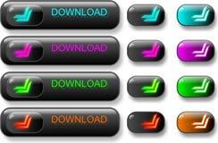 комплект download кнопок темный стоковое изображение rf