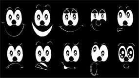 Комплект emoji, комплект эмоций смешных сторон с большими глазами с различными эмоциями: утеха, тоскливость, страх, сюрприз, улыб иллюстрация вектора