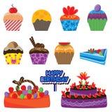 комплект eps торта цветастый иллюстрация штока