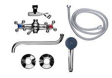 Комплект faucet ванной комнаты частей Стоковое Изображение RF
