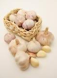 комплект garlics корзины Стоковое фото RF
