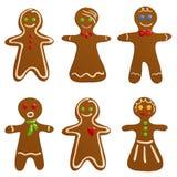 комплект gingerbread печений иллюстрация вектора