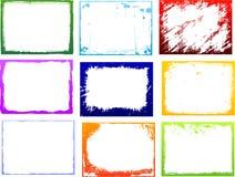 комплект grunge рамки цвета Стоковые Фото