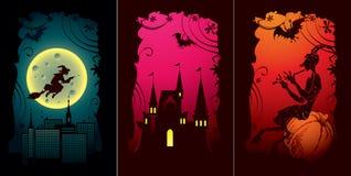 комплект halloween карточек Стоковое Изображение