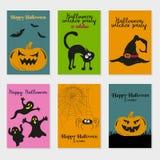 комплект halloween карточек иллюстрация штока