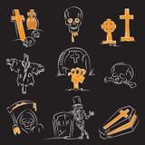 комплект halloween кладбища иллюстрация вектора
