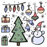 Комплект handdrawn элементов рождества также вектор иллюстрации притяжки corel иллюстрация штока