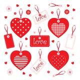 Комплект handmade сердец и элементов Стоковые Изображения