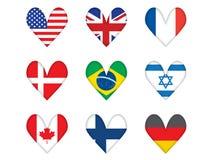 Комплект heart-shaped флагов Бесплатная Иллюстрация
