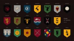 Комплект heraldic символов или логотипы различной игры домов трона благородных изолированных на темной предпосылке Пачка пальто  Стоковая Фотография