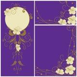 комплект hibiscus предпосылок флористический иллюстрация вектора