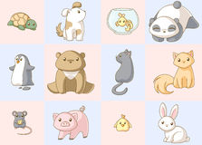 комплект kawaii животных Стоковые Изображения RF