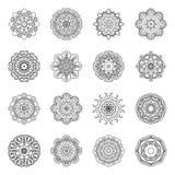 Комплект Monochrome вектора мандал бесплатная иллюстрация