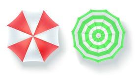Комплект multi покрашенных зонтиков пляжа, взгляд сверху Значки открытых парасолей изолированных на белой предпосылке Вектор 3D Стоковая Фотография