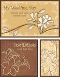 комплект ornamental приглашения цветков конструкций бесплатная иллюстрация