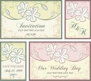 комплект ornamental приглашения цветков конструкций иллюстрация вектора