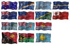 комплект pacific флага стран тазика Австралии иллюстрация штока