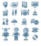 комплект routin s малыша икон девушки мальчика Стоковые Фотографии RF