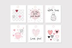 Комплект ` s валентинки 6 векторов воодушевил бирки с сердцами стоковые изображения