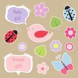 комплект scrapbook девушки элементов младенца Стоковые Изображения