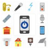 Комплект Smartphone, панели, штепсельной вилки, дома, кондиционера воздуха, Remote, g бесплатная иллюстрация