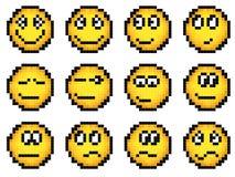 Комплект smiley пиксела вектора просто желтого. иллюстрация вектора