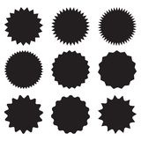 Комплект starburst вектора, значков sunburst Черные значки на белой предпосылке Ярлыки простого плоского стиля винтажные, стикеры иллюстрация штока
