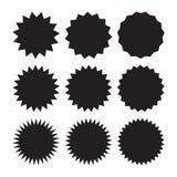Комплект starburst вектора, значков sunburst Черные значки на белой предпосылке Ярлыки простого плоского стиля винтажные, стикеры бесплатная иллюстрация