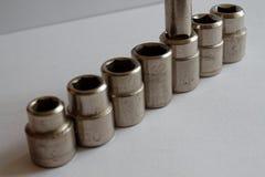Комплект Torx гнезд для гаечного ключа на белой предпосылке студии, гнездах ключа Стоковая Фотография