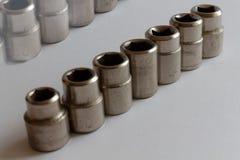 Комплект Torx гнезд для гаечного ключа на белой предпосылке студии, гнездах ключа Стоковое Изображение RF