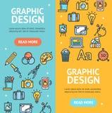 Комплект Vecrtical знамени знаков графического дизайна вектор Стоковые Изображения