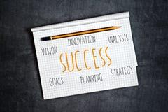 Компоненты успеха в бизнесе в тетради стоковое изображение