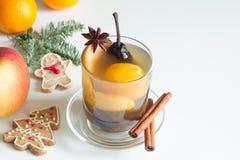 Компот от высушенных плодов и специй на зимнем времени рождества стоковая фотография rf