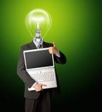 компьтер-книжка головной лампы бизнесмена открытая стоковые изображения rf