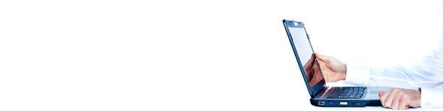 компьтер-книжка знамени Стоковые Фотографии RF