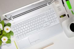 Компьтер-книжка и зеленые вещи, который нужно использовать Стоковая Фотография
