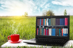 Компьтер-книжка и чашка горячего кофе на природе предпосылки живописной, внешнего офиса Концепция библиотеки EBook Магазин книг и стоковое изображение