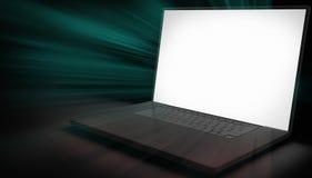 Компьтер-книжка компьютера и черный конспект светового луча Стоковые Фотографии RF