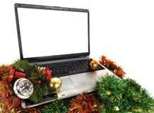 компьтер-книжка компьютера рождества Стоковые Изображения