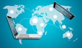 Компьтер-книжка компьютера технологии с социальной структурой сети стоковая фотография rf