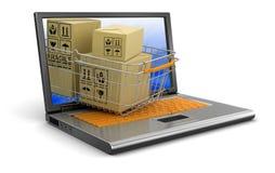 Компьтер-книжка, корзина для товаров и пакеты (включенный путь клиппирования) Иллюстрация штока