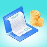 Компьтер-книжка, онлайн оплата счета, стог монеток Стоковое Изображение RF