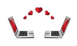 Компьтер-книжка, онлайн влюбленность датировка Стоковые Фотографии RF