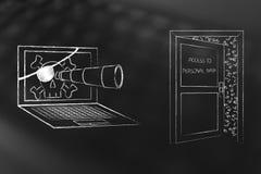 Компьтер-книжка пирата шпионя на semi открытой личной двери данных иллюстрация вектора