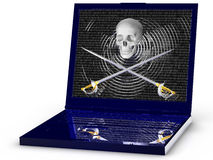 Компьтер-книжка пирата стоковое изображение rf