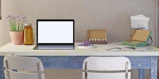 Компьтер-книжка плаката модель-макета на таблице Иллюстрация штока