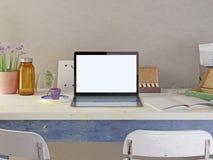 Компьтер-книжка плаката модель-макета на таблице Бесплатная Иллюстрация