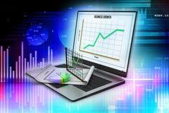 Компьтер-книжка показывая электронную таблицу и бумагу с диаграммами статистики Стоковое фото RF
