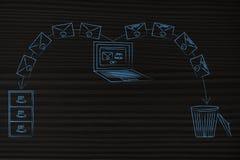 Компьтер-книжка посылая электронные почты в архив и спам в ящик иллюстрация вектора